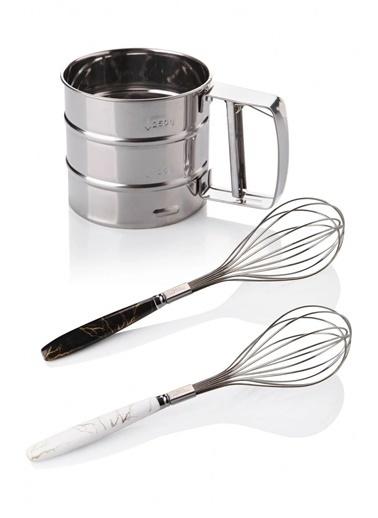 Arma House Çelik Un Eleği Ve 2 Adet Lüx Çırpıcı Gümüş